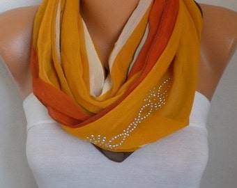 Mustard Infinity Chiffon Scarf with sequin ,Christmas Gift Circle Scarf Loop Scarf Gift Ideas For Her Women's Fashion Accessories