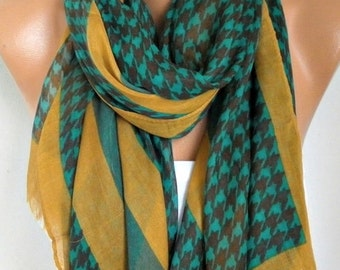 Mustard Black Houndstooth Cotton Scarf, Shawl,Fall Scarf, Cowl, Wrap Gift Ideas For Her, Women Fashion Accessories, Christmas Gift Scarves