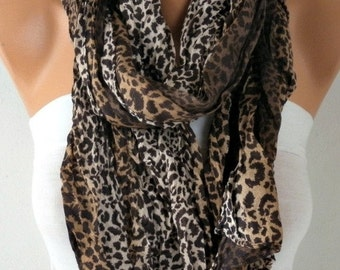 Leopard Print Cotton Scarf Animal Scarf Fall Shawl Cowl Gift Ideas For Her Women Fashion Accessories Women Scarves,Christmas Gift