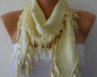 Light Yellow Pashmina Scarf  Spring Easter Shawl Cowl Bridesmaid Gift Bridal Accessories Gift Ideas For Her Women's Fashion Accessories