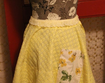 Half Apron ,Yellow and White, Vintage material,Fits most women including plus size, Spring,