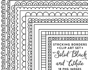 Doodle Frame Clipart Borders, Stacking, Instant Download, Commercial Use