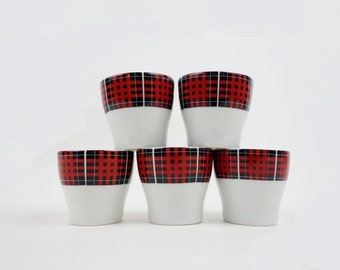 5 Vintage Porcelain Egg Cups Tartan Pattern from Winterling Bavaria Germany