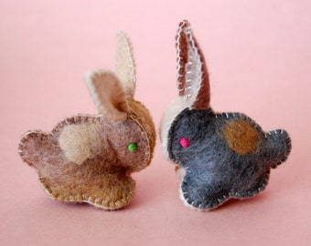 Twin Felted BABY BUNNIES-- Beige and Grey set of Toys -- Hand Made in Canada -- Pure Merino Wool Handmade Felt