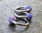16 Gauge Lavender Agate Stone CBR Cartilage Hoop Earring Tragus Hoop Helix Conch