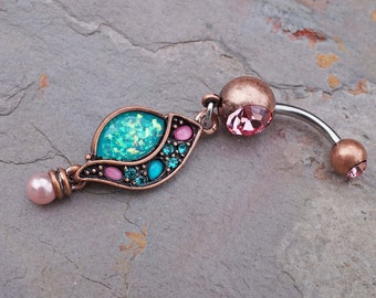 Rose Gold Belly Button Rings Boho Teal and Pink Belly Button Ring