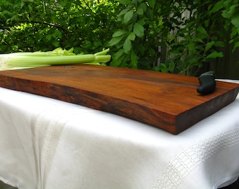 Wood Cutting Board / Chopping Block / Home Decor - Natural Edge Salvaged Texas Mesquite Wood (can be personalized)