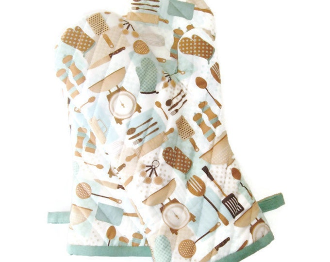 Oven Mitts - Aqua and Brown Oven Mitt - Retro-Inspired Potholders - Gift Under 40 - Gift for Foodie - Gift for Mom