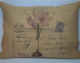French Postcard Burlap Pillow, Botanical Pillow, Shabby Chic,  INSERT INCLUDED