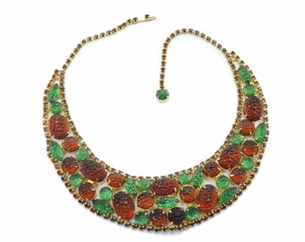 "Vintage SCHIAPARELLI Stippled Rhinestone ""Lava Rock"" Collar Bib Necklace AMAZING!"