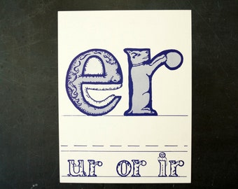 "Vintage Letters ""ER"" Flashcard / Phonics Card, 7"" tall (c.1958) - Collectible, Altered Art Ephemera, Home Decor, and more"