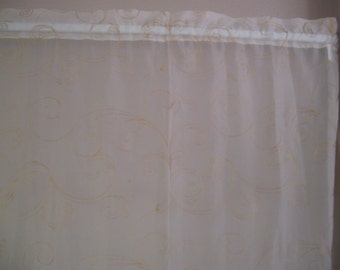 Two Crinkled Sheer Polyester Curtain Panels-52x62in each