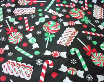 Christmas Candy Fabric Colorful Peppermint Ribbon Black Background New By The Fat Quarter