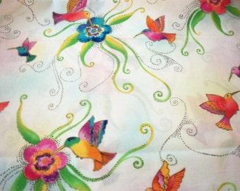 Hummingbirds Fabric Laurel Burch  Splash Pale White By The Fat Quarter