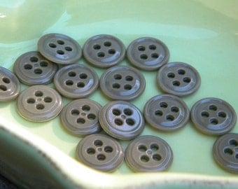 Buttons - 16 little round buttons - greenish brown buttons - 4 hole buttons - plastic buttons - shirt buttons - sewing supplies - buttons