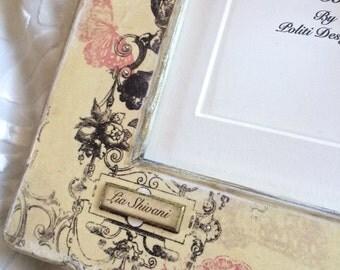 Wedding Frame Personalized Gift Idea Engagement Anniversary Bridal Photo Name Date Frame with Bow Jewel Keepsake