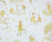 Retro Wallpaper by the Yard 70s Vintage Wallpaper - 1970s Scenic Children Playing in a Meadow