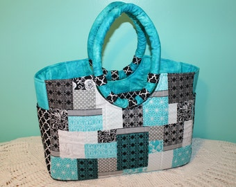 Quilted Turquoise Black Tote Bag w/ Pockets