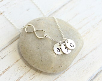 Sterling Silver Infinity Necklace with Three Initials -- Personalized  -- Mother of Three -- Friendship -- Sisters