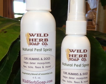 NATURAL Pest & Bug Repellent Spray Humans and Dogs: Proprietary Essential Oil Blend (8 oz.) Deter Fleas, Ticks, Flies, Mosquitoes, More!