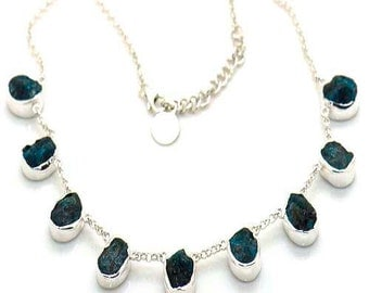 Rough  Apatite  Gemstone Necklace. Solid Sterling Silver  Rough Gemstone Jewelry Handforged by Silversmith