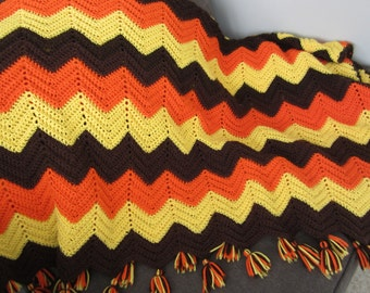 Vintage Hand Crochet Afghan Chevron Stripe Afghan Quilt Throw Blanket