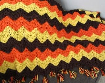 Vintage Hand Crochet Afghan Chevron Stripe Fringed Afghan Quilt Throw Blanket