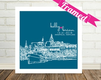 Annapolis Skyline Wedding Gift Art Print Personalized FRAMED ART Annapolis Art Any City Available Unique Wedding Gift Engagement Gift