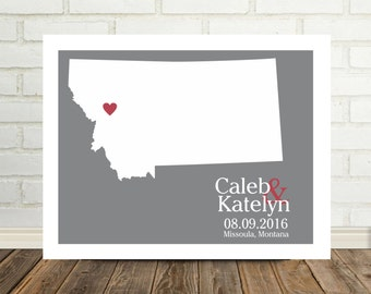 Montana Map Wedding Gifts Personalized  Montana Print Montana Poster State Map Custom Wedding Gift  Holiday Gift Valentines Day Gift