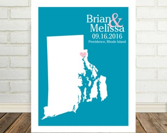 Rhode Island Map Wedding Gifts for Couple Rhode Island Print State Map Art Rhode Island Poster Personalized Valentines Day Gift for Him