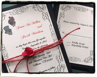 Skeletan Bride and groom wedding Invitation suite