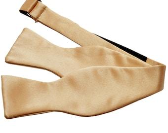 Men's Solid Beige Self-Tie Bowtie, for Formal Occasions