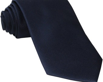 Men's Solid Navy Blue Big & Tall Extra Long Necktie, for Formal Occasions