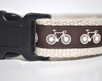 Hemp Webbing Dog Collar  - 'Cycling Buddy' - 50% Profits to Dog Rescue