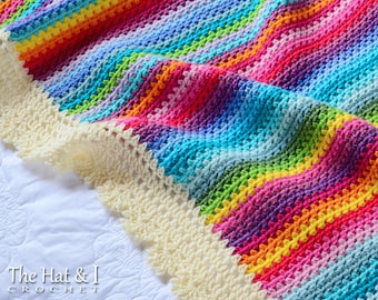 CROCHET PATTERN - Crayon Box Blanket - a colorful crochet blanket pattern, gypsy blanket, rainbow afghan pattern - Instant PDF Download