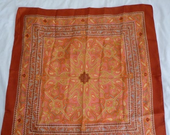 Vintage orange paisley pattened Liberty of London silk scarf with marks