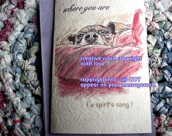 where you are /brown and black mutt /brown and black dog/personalize/ journey cards/storybook cards/unique empathy condolence cards