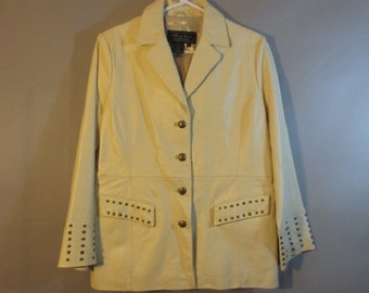 SALE***Woman's Leather Jacket by Terry Lewis // Brass Studs Fully Lined // Excellent...medium