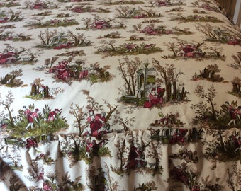 Beautiful Handmade Vintage Fabric Demi Bedspread with frill