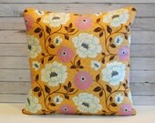Gold white pink floral decorative cushion pillow covers. Cover for 20x20 pillow insert. Shabby chic cottage spring summer autumn window seat