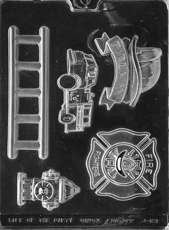 Firefighter Kit Fire Badge Ladder Firetruck Hat Fire Hydrant Chocolate Mold Candy Soap Mould  Party Favor m64