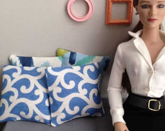 1:4 scale Set of 2 modern pillows in blue and white swirls for dioramas