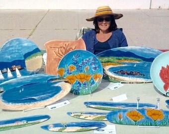 Hand- painted beach scenes on platters