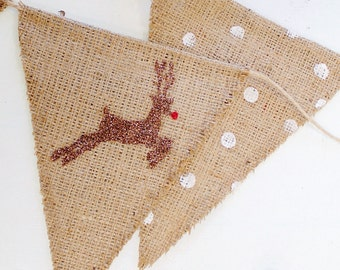 SALE! Christmas Decorations, Reindeer Sign, Farmhouse Christmas Decor, Reversible Holiday Banner, Burlap, MARKED DOWN from 30.00