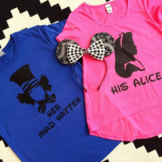 MAD HATTER & ALICE - Silhouette Duo Shirts - baby, toddler, child, adult, couple, disney disneyland disney world wonderland custom