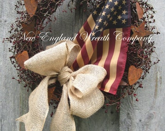 Americana Wreath, Patriotic Wreath, Fall Wreath, Primitive Wreath, Military Wreath, Harvest Wreath, Tea Stained Flag, Veteran's Day Wreath
