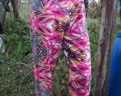pink carnival rave mash up psychedelic zebra party slouch baggy trousers pants uk 10 12