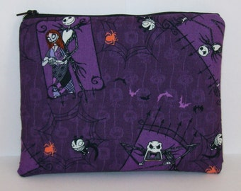 """Pipe Pouch, Nightmare Before Christmas, Halloween, XL Pipe Bag, Pipe Case, Padded Pipe Pouch, Smoke Pouch, Zipper Pouch, 7.5"""" x 6"""" X LARGE"""