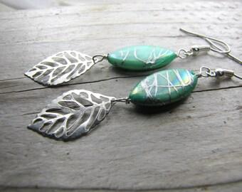 boho earrings long dangle earrings silver leaf mother of pearl hand painted silver swirls lightweight playful earrings
