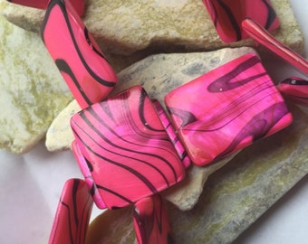 "Hot Pink and Black Mother of Pearl Rectangular Beads 1"" x 3/4"" 14 Beads"